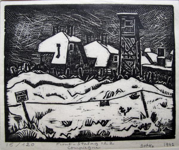 Gravure du peintre Jacques Gotko réalisée dans le camp de Compiègne en mai 1942